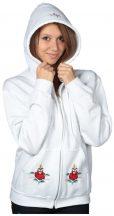 Hímzésmánia - kézzel hímzett kalocsai kapucnis, cipzáras pulóver - fehér