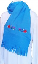 Polar scarf - hungarian folk machine-emboridery - Kalocsai style - unisex - azure