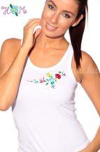 Top - hungarian folk machine embroidery - Kalocsa motif - white