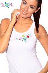 Elején hímzett kalocsai mintás trikó - fehér (XL) - Hímzésmánia