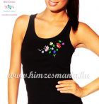Tank top - hungarian folk embroidery - Kalocsa motif - black