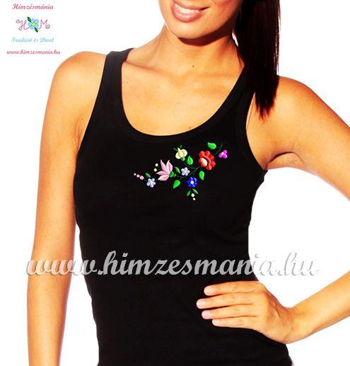 d3a43bd162 Kalocsai hímzett női top - Hímzésmánia - fekete - Hímzésmánia ...