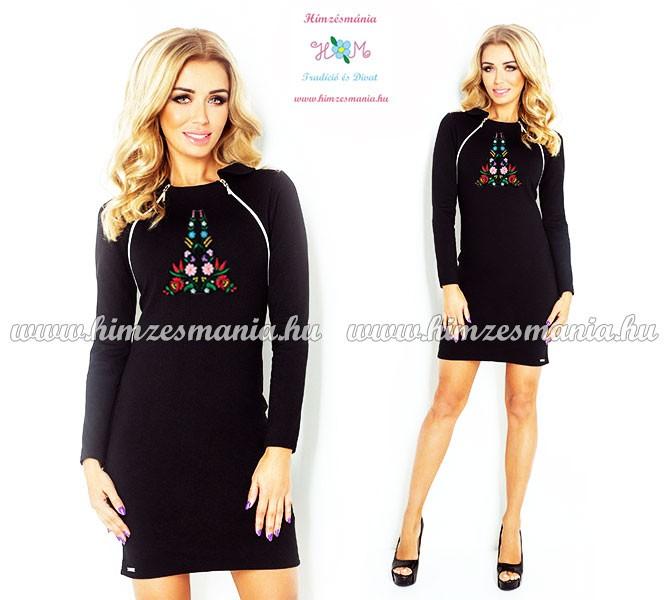Elegáns női ruha kalocsai - hosszú ujjú - gépi hímzés - fekete ... 32bab0995a