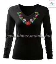 Woman T-shirt - long sleeve - V-neck - hungarian folk hand embroidery - Heart Matyo motif - black