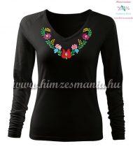 Woman T-shirt - long sleeve - V-neck - hungarian folk hand embroidery - Heart Matyo motif - black