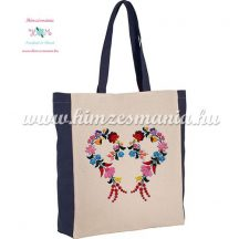 Cotton canvas tote bag - folk embroidery - handmade - kalocsa style - natural/black
