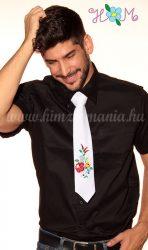 Tie - hungarian folk machine embroidery - Kalocsa pattern - white