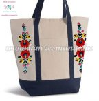 Cotton canvas tote bag - hungarian folk embroidered - Matyo style - Natur-navy