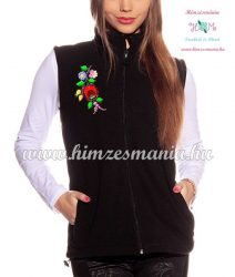 Fleece vest - folk embroidery from Hungary - Kalocsa motif - black