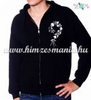 Man sweatshirt - hungarian folk embroidery - white kalocsa motif - black