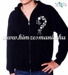 Man sweatshirt - hungarian folk embroidery - white kalocsa motif - black