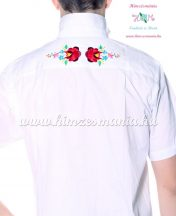 Men's shirt - hungarian folk machine embroidery - Kalocsa style - Embroidery Mania - white