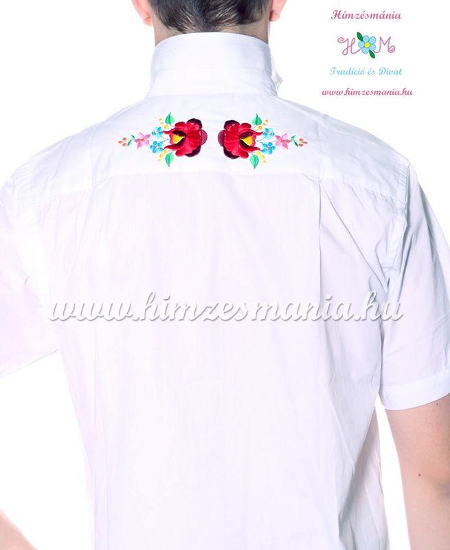 7c272ff918 Kalocsai mintás elején-hátulján hímzett férfi ing - Hímzésmánia - fehér