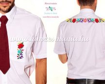 Men's short sleeve shirt - hand emboidery - folk motif - Kalocsa style - white