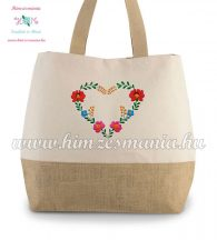Large cotton and jute (juco) shopper bag - folk embroidery - Matyo style - natural