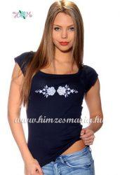 T-shirt - hungarian folk machine embroidered - Kalocsa style - navy