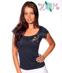 Hímzésmánia - póló kalocsai mintával - sötétkék