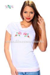 Hímzésmánia - kalocsai rózsa mintás póló - fehér ( XL)