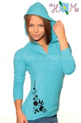 Hímzésmánia - kalocsai hímzett kapucnis női felső - türkiz