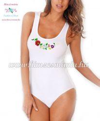 Female body - sleeveless - hungarian folk embroidery - Kalocsa style - white