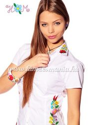 Women's short sleeve shirt - hangarian hand embroidery - style Kalocsa - white