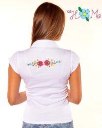 Hímzésmánia - elején-hátulján hímzett matyó mintás női galléros póló - fehér
