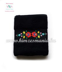 Towel - folk machine embroidered - hungarian Matyo motif - black