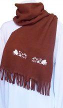 Polar scarf - hungarian folk machine-emboridery - Kalocsai style - unisex - chocolate