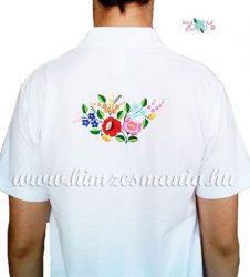 Kalocsai elején-hátulján hímzett férfi póló - fehér (2XL) - Hímzésmánia