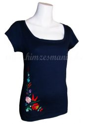 Embroidery Mania - T-shirt hungarian folk hand-embroidered - navy