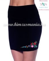 Skirt - hungarian folk - machnine embroidery - Kalocsai motif - black