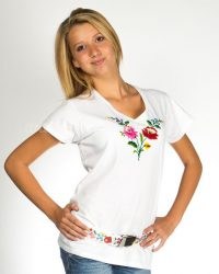 Embroidery Mania - T-shirt Kalocsa hand-embroidered - white