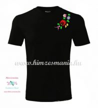 Fekete férfi póló színes kalocsai hímzéssel - Hímzésmánia