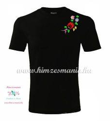 Men's Short Sleeve T-Shirts - hungarian folk embroidery -Kalocsa motif - black