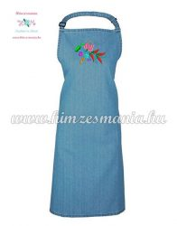 Denim apron - folk machine embroidery - kalocsa style