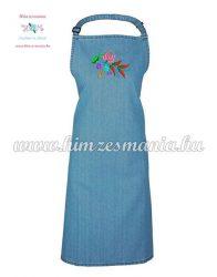 Denim apron - folk machine embroidery - kalocsa style