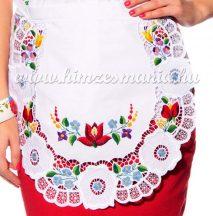 Apron - hungarian folk lace embroidery - Kalocsa style - white