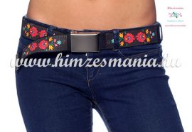 Belt Metal Buckle - hungarian folk design - Matyo style - unisex - black