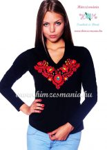 Ladies long sleeve V-neck T-shirt - hungarian folk hand embroidered - Matyo style - black
