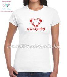 HUNGARY feliratos hímzett női póló matyó szív mintával - fehér