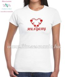 Short Sleeve T-Shirt Women - HUNGARY inscription - machine embroidered - Matyo heart - white