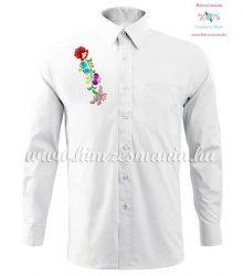 Man long sleeve shirt - hungarian machine embroidery - Kalocsa style - white