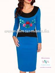 Women dress - folk hand embroidery - Kalocsa style - blue