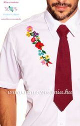 Men's shirt - hungarian folk - hand embroidery - Kalocsa pattern - white