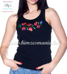 Top - machine embroidery - Hungarian Matyo style - black - Embroidery Mania