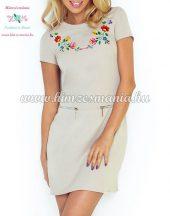 Women's dress - folk machine embroidery - Kalocsa pattern - beige