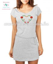 Women's cotton clothing - folk embroidery - heart motif - highlighted gray
