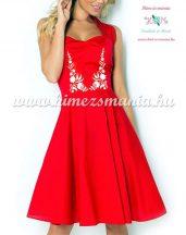 Kalocsai mintás menyecske ruha - gépi hímzés - piros