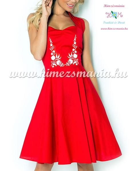 3d1339caff Kalocsai mintás menyecske ruha - gépi hímzés - piros - Hímzésmánia ...