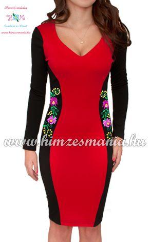 Hosszú ujjú elegáns női ruha - matyó mintás - kézi hímzés - piros (36) 6012f01919